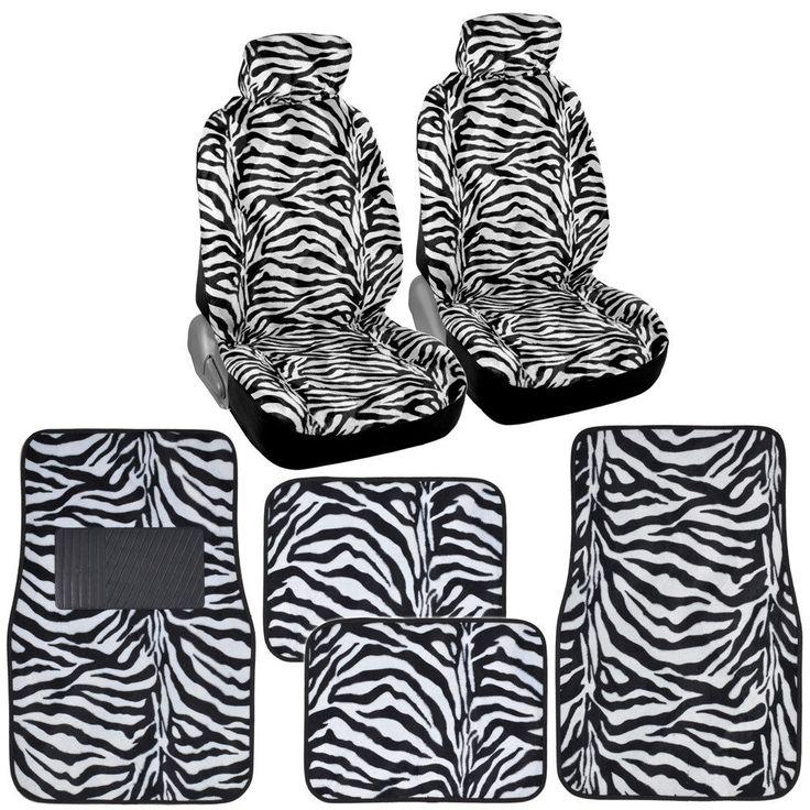 White Zebra Front Row Animal Print Car Seat Covers w/ Faux Fur Carpet Floor Mats #BDK