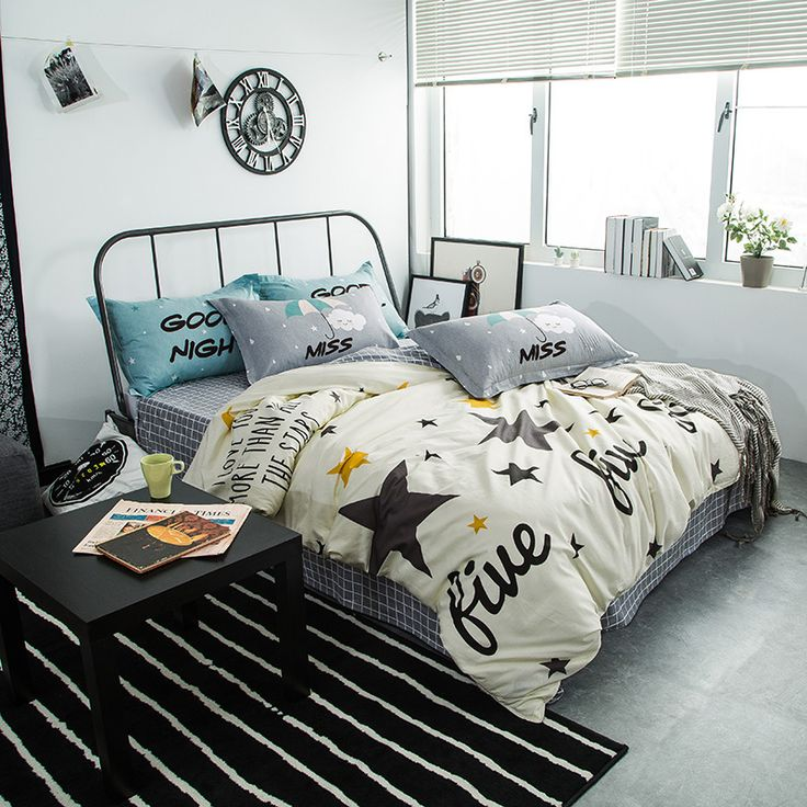 Fashion Stars Print Beige Bedding Sets Queen Full Double Twin Size New Cotton Bedlinens Duvet Cover Sheet Pillow Cases