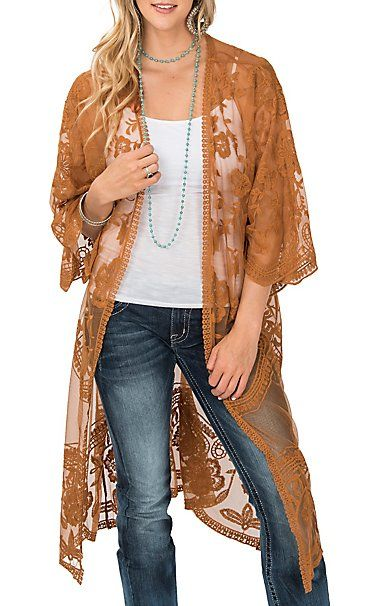 7e919ab59e8bd4 She + Sky Women s Camel Crochet Lace Duster Cardigan