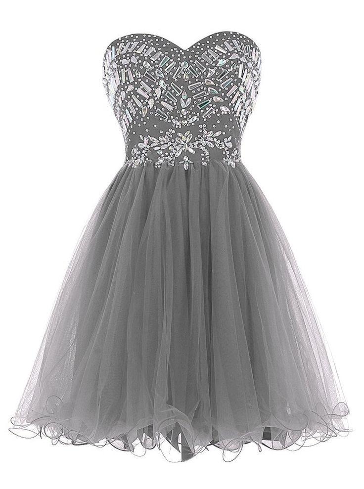 Sisjuly Women's Short Beaded Sweetheart Neck Tulle Christmas Dress Size 14 Grey