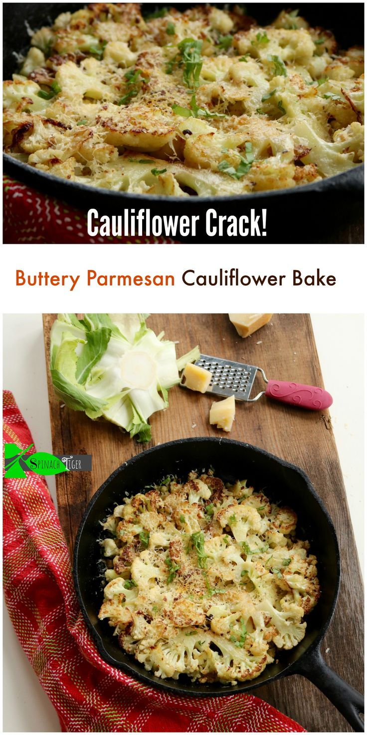 How to Make Buttery Parmesan Oven Roasted Cauliflower #justeatrealfood #spinachtiger