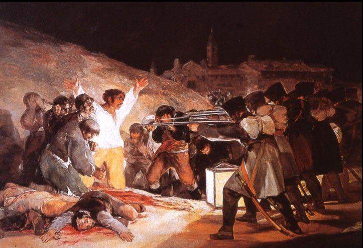 지지와 비판: 같은 혁명, 다른 관점: <1808년 5월 3일의 학살, 고야> 에스파냐인 고야는 프랑스의 식민지가 된 에스파냐인의 저항과 그에 대한 나폴레옹의 무자비한 학살을 보았다. 이에 분노한 고야는 나폴레옹을 비난하고, 낭만주의 화가로서 <1808년 5월 3일의 학살> 등 작품으로 무고한 에스파냐 시민들을 학살하는 나폴레옹의 잔혹함을 극단적이고 격정적으로 그렸고, 다비드와 프랑스 혁명에 대해 양 극단의 평가를 내린다.