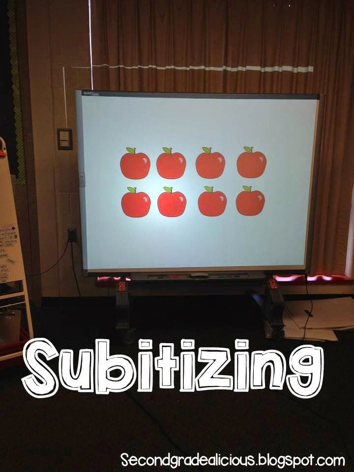 Subitizing is the ability to see objects in groups.  Use the images in a powerpoint for quick flashing of the images, projecting it makes the images large enough for people to see. #math