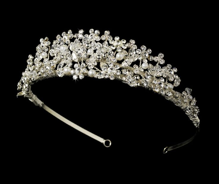 Pearls staged themselves in brilliant gold and were also sewn onto clothing and were most commonly used to decorate hair.  Dyeable Deals sells a beautiful tiara (3154) which features gold flowers and is accented with white pearls giving this tiara a look much like the princess bride crown, except nicer!  Dyeable features a number of stunning floral tiaras which can be ordered in gold and silver.