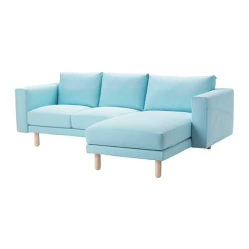 NORSBORG Sofa2&chaiselongue - Edum azul claro, abedul - IKEA