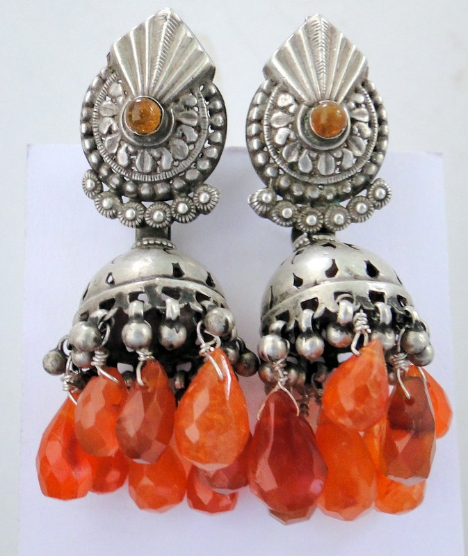 Antique collectable old silver earring earplugs from Rajasthan India