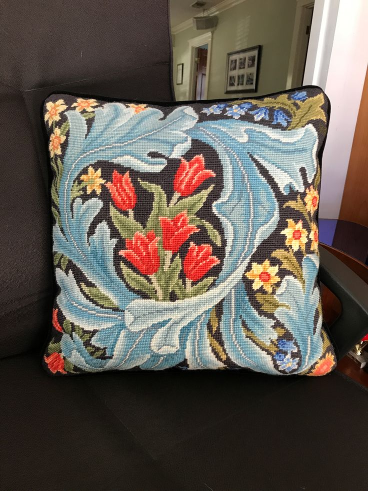 """William Morris Panel pillow, stitched by Rick Ayres: """"This was fun to make. The kit was complete with everything I needed to make the William Morris pillow. The results were amazing. I entered my pillow into the needlepoint competition at the Los Angeles County Fair and won a First place blue ribbon. I am very proud of this pillow and display it in my 1918 home. Looks like they were meant to be together."""""""