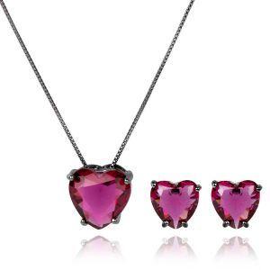 Conjunto de Brinco e Colar de Coração Rubi Rosa Semijoia em Ródio Negro