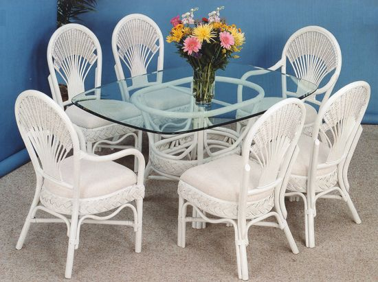 Liberty Rattan Whitewash Dining Suite from Summit Design | Whitewash Wicker Dining Furniture | americanrattan.com