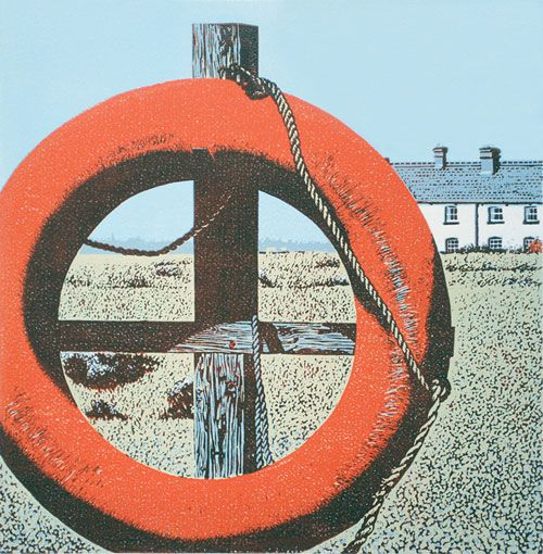 """Shingle Street Lifebelt"" linocut by Graham Spice. http://spicelinoprints.co.uk/ Tags: Linocut, Cut, Print, Linoleum, Lino, Carving, Block, Woodcut, Helen Elstone, Beach, Buildings, Life ring, Preserver"