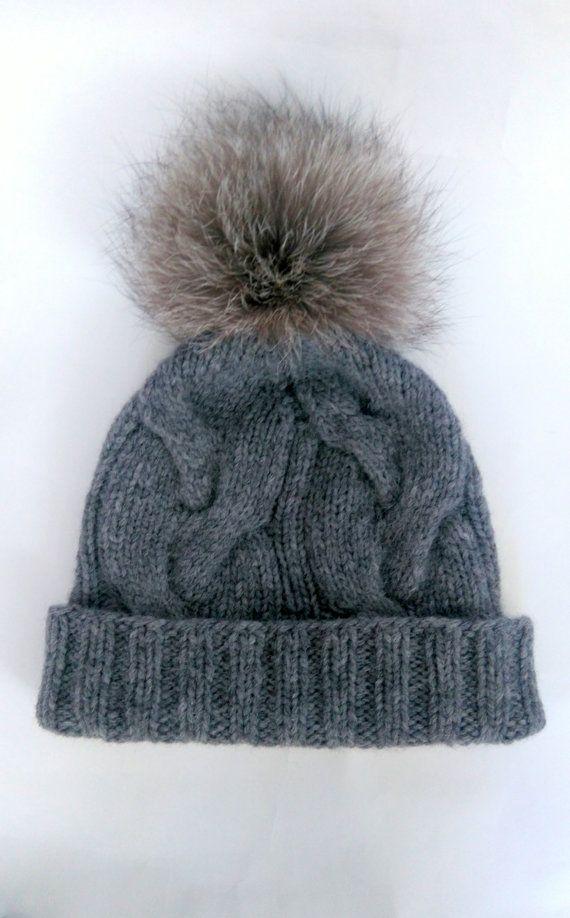 Grey cable knit hat with pom pom / Wool apaca cabled beanie / Fur pom pom hat...