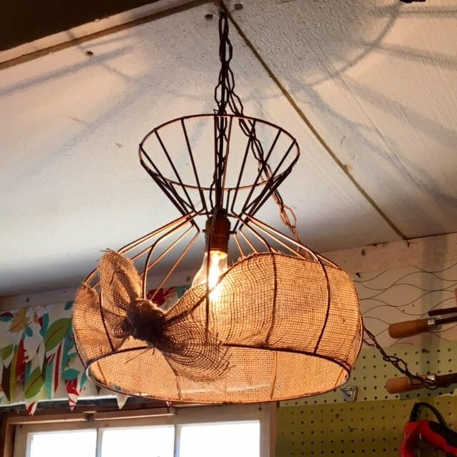 Vintage Industrial antique copper wire hanging pendant light with burlap ribbon by MadeAndFoundDecor on Etsy https://www.etsy.com/ca/listing/531866204/vintage-industrial-antique-copper-wire