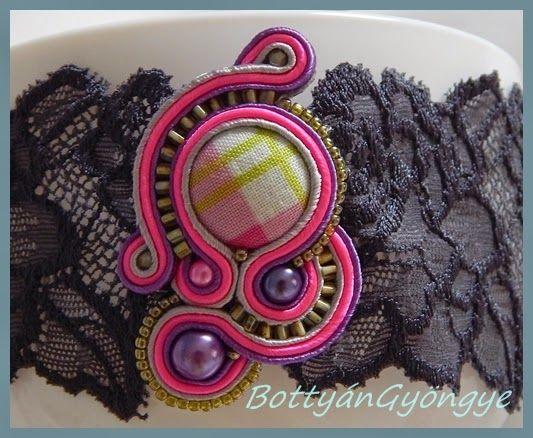 Pink - lila sujtás aszimmetrikus medál / nyakpánt / Pink - Purple asymmetric soutache pendant / Lanyard