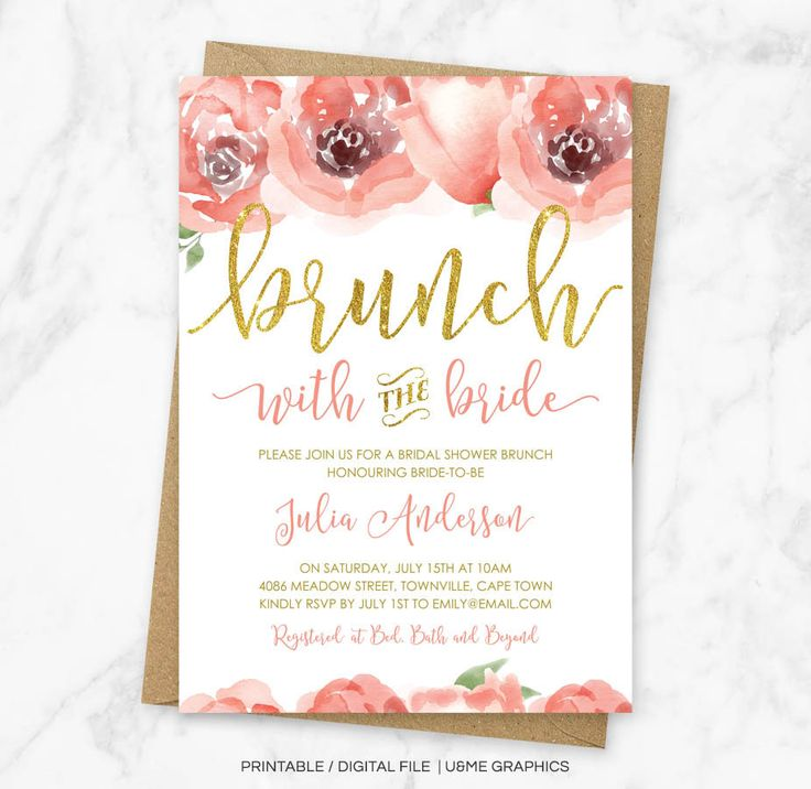 Brunch with the Bride Invitation, Bridal Shower Brunch Invitation, Floral Bridal Brunch Invitation, Floral Brunch with the Bride, Printable by UandMeGraphicsShop on Etsy