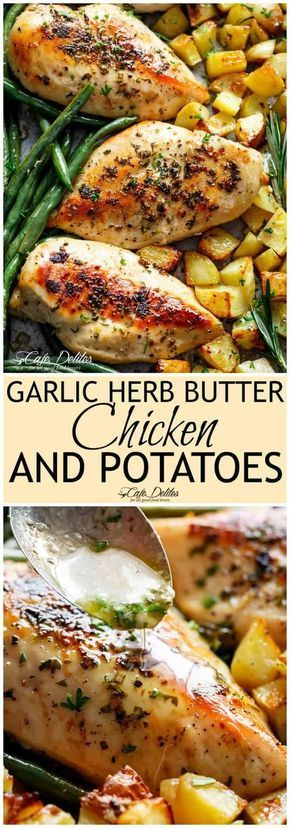 Sheet Pan Garlic Herb Butter Chicken has half the butter and fat WITHOUT compromising on a buttery f…