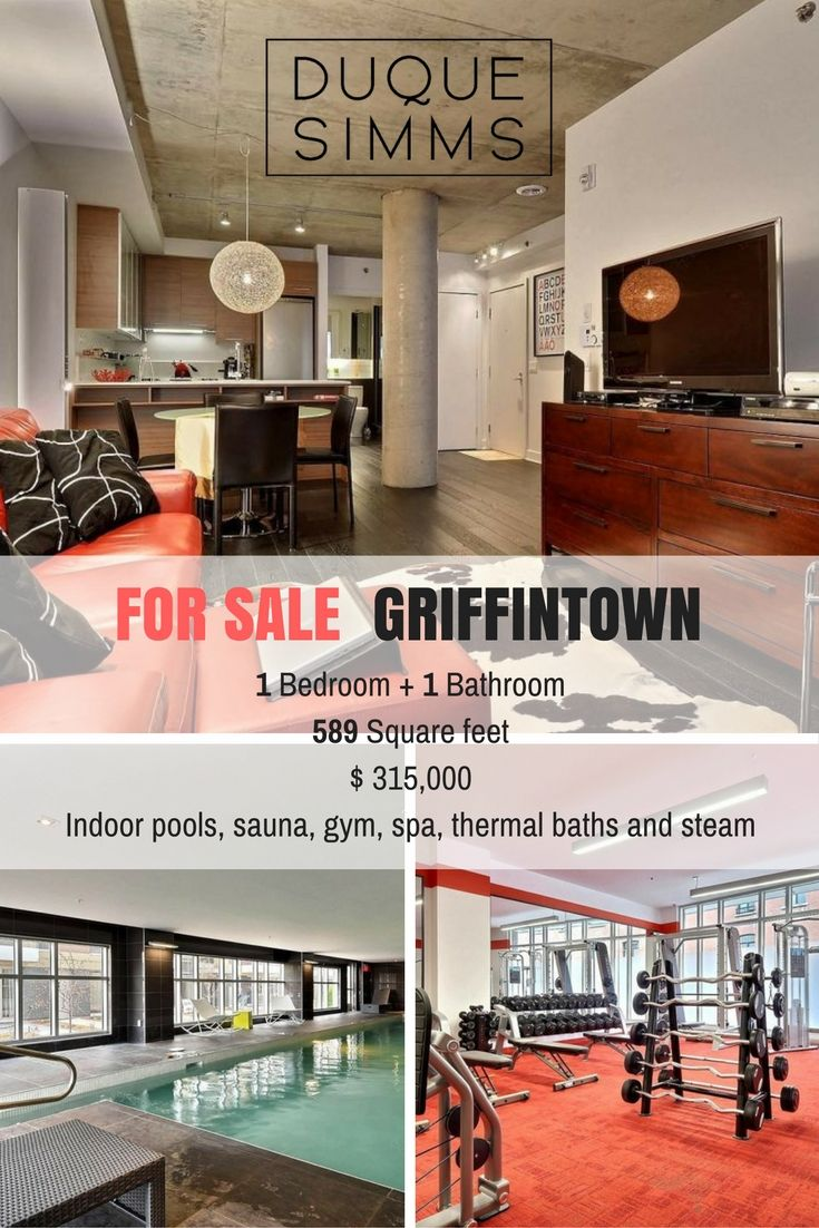 Contemporary 1 bedroom condo in Montreal with gym, spa, swimming pool and more ! #Griffintown #Montreal #condo #onebedroom #forsale #Luxury #realestate #realtor #brokers