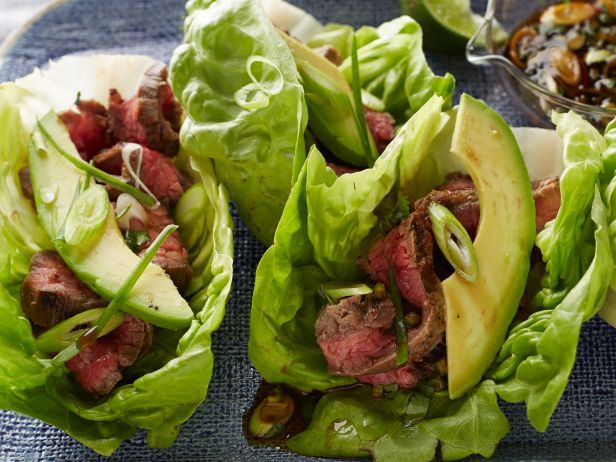 Light Tacos #Veggies #Protein #MyPlate: Food Network, Lettuce Wraps, Steaks Tacos, Tacos Recipes, Healthy Summer Recipes, Wraps Tacos, Lights Tacos, Drinks, Flank Steaks