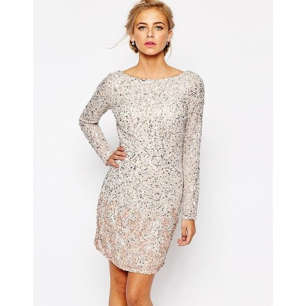 Coast Lydie All Over Sequin Mini Dress in Blush ($303) ❤ liked on Polyvore featuring dresses, neutral, white mini dress, mini dress, short chiffon dress, sequin dress and white chiffon cocktail dress