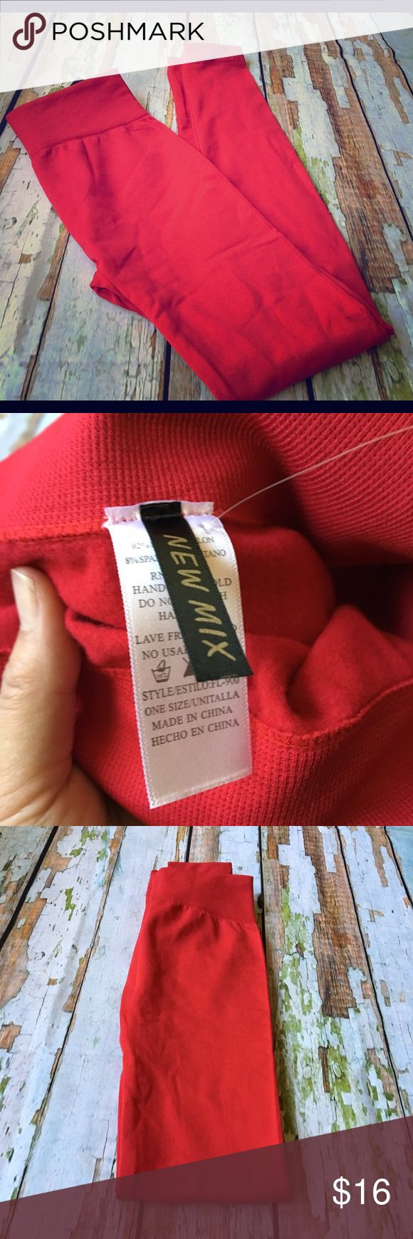 Candy Red Fleece Lined Leggings These leggings are a favorite for me! Made with French Seam to protect against rips and tears in the crotch area. Fleece lined to keep you warm at night! Flattering thick waist band. Fits size 0-10. Pants Leggings