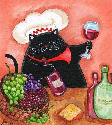 Sommelier Wine Expert Cat by AnnyaKaiArt on Etsy, $18.00