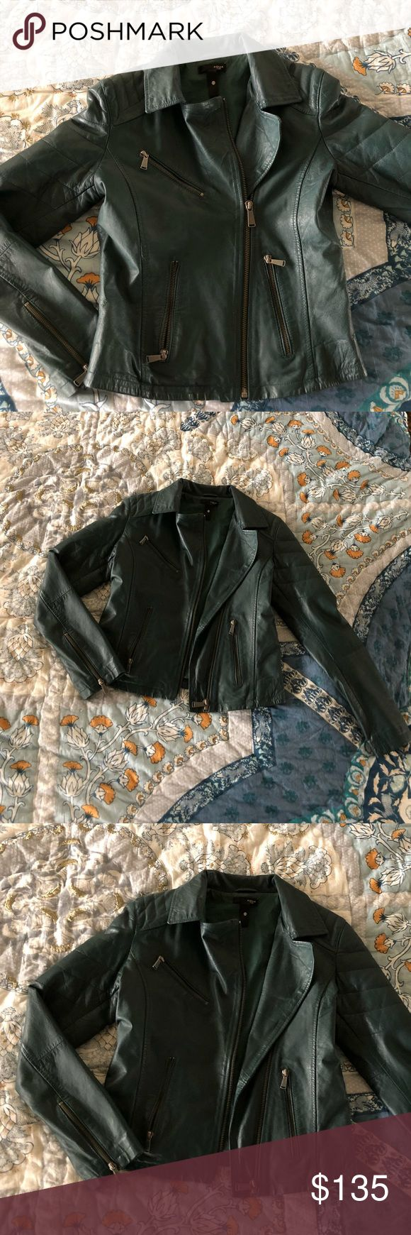AQUA luxe teal green leather jacket XS Worn once just sitting in my closet beautiful teal / dark green leather jacket size XS. Real leather. Brand is AQUA luxe. Bought from Bloomingdales. Aqua Jackets & Coats