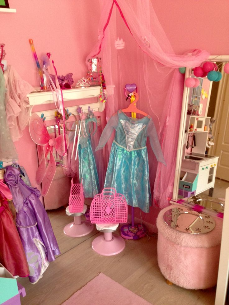 Girls dress up room. Princesses dream room. Pink wall.
