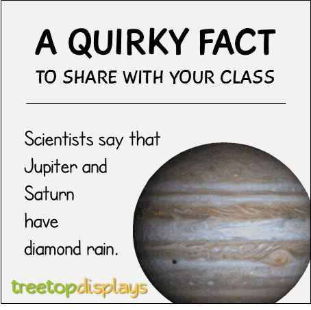 A quirky fact about Jupiter and Saturn to share with your class - from Treetop Displays. Visit our TpT store for printable resources by clicking on the provided links. Designed by teachers for Pre-Kindergarten to 7th Grade.