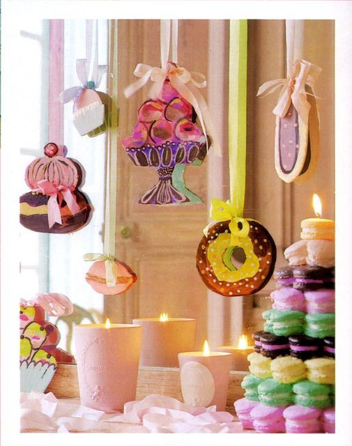 Hanging sweets, and macaroon towers~ www.savethedate4cupcakes.com