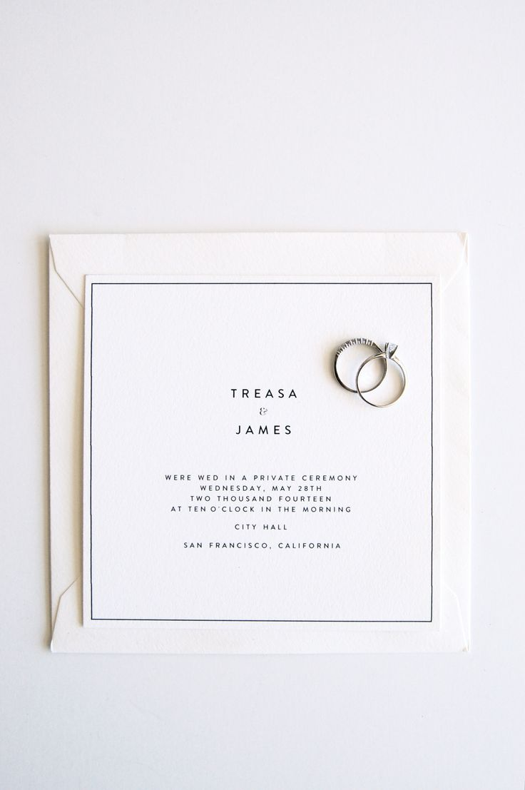 modern letterpress elopement announcement by In Haus Press