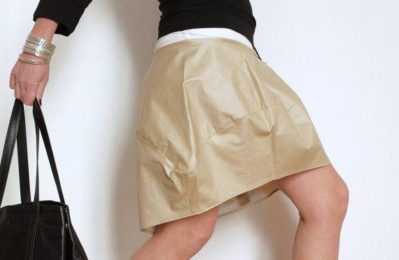 Bubble Skirt - Cotton Skirt - Short Skirt - Women Clothing - Mini Skirt - Large Skirt - Above the Knee - Resin Cotton - Vanilla Colour