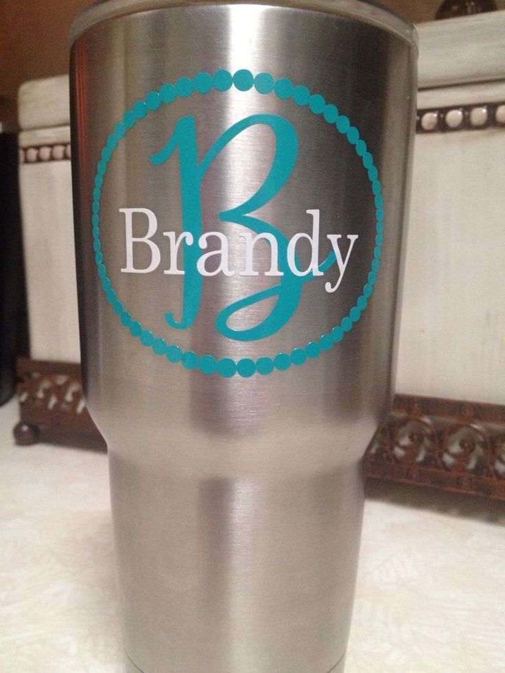 Custom name w initial decal pearl border 2 colors for your yeti rambler tumble ebay