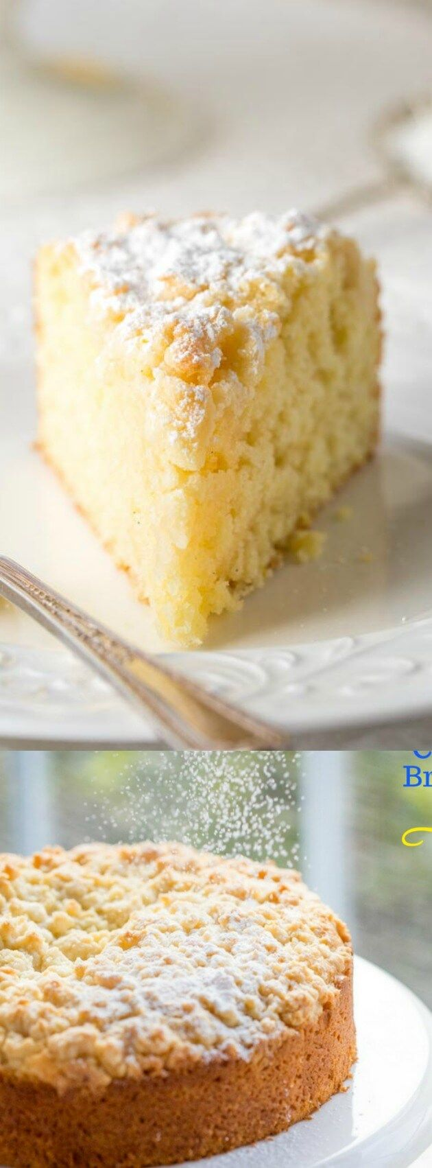 This Lemon Crumble Breakfast Cake from Saving Room for Dessert is loaded with bright lemon flavor! The moist tender cake is super easy to make and topped with the sweetest crumble topping!
