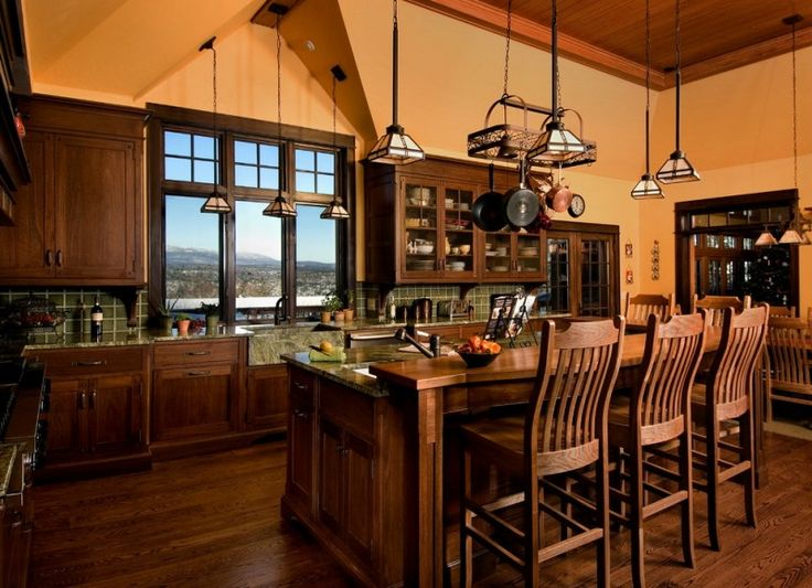 wooden kitchen island with added higher wood for bar seating with wooden stool with backs of Amazing Ideas on Kitchen Islands for Bar Seating