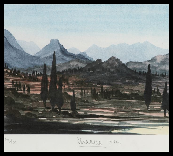 HRH The Prince of Wales Greek Island Landscape Limited Edition Signed Lithograph 46 x 61 cm £5,000