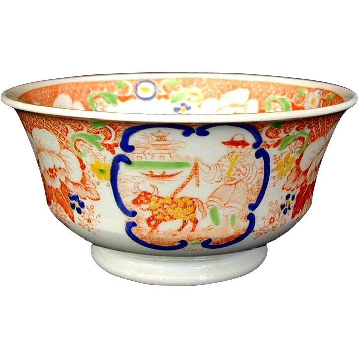 Hilditch Chinoiserie Waste Bowl, 'C' Scroll Pattern,  Antique 19th C English Porcelain