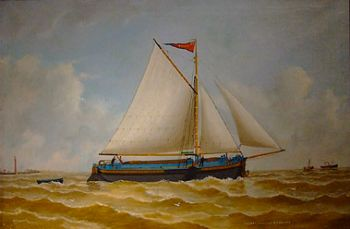 """The sloop """"Lilian"""" shown in this oil on canvas was built in 1896 at Barton on the Lincolnshire side of the Humber, and is one of the smaller vessels featured in this exhibition. While Yorkshiremen remained faithful to the keel, the sloop was the favourite of Lincolnshire. The sloop had the same hull form, but the rig was fore-and-aft giving an improved sailing ability. Indeed the terms 'keel' and 'sloop' refer to the rig rather than the hull forms ~ by Reuben Chappell"""