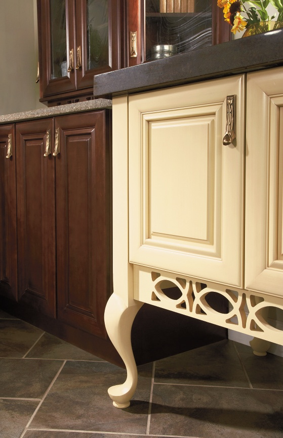 Add contrast to your cabinetry with an embellished end for Kitchen queen cabinet
