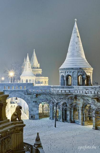 The magical site of the Fisherman's Bastian in Budapest, Hungary during winter.