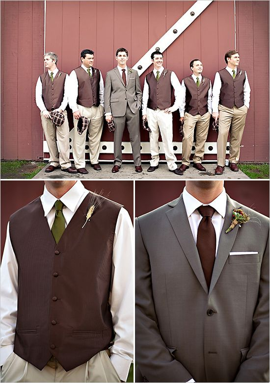 Groomsmen idea (the two guys on the right). Chocolate vest, eggshell/cream shirt,
