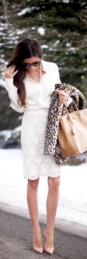 White lace+neutrals.
