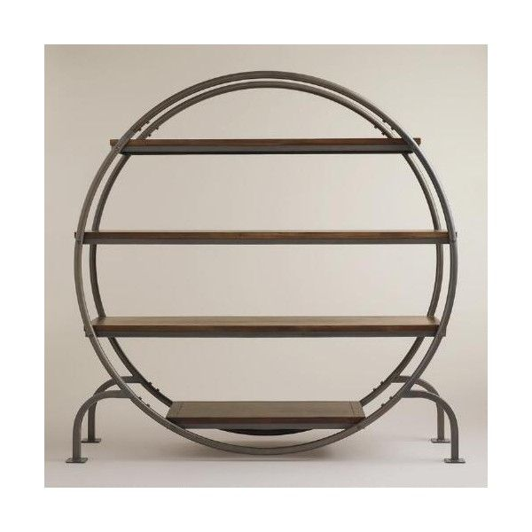 Cost Plus World Market Round Bookcase ($380) via Polyvore featuring home, furniture, storage & shelves, bookcases, metal bookcase, metal book shelves, metal bookshelves, round bookcase and cost plus world market
