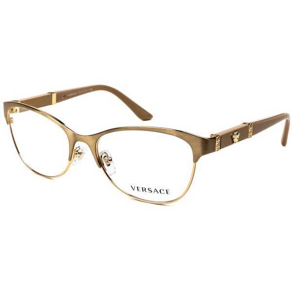 Versace VE1233Q 1352 Eyeglasses ($145) ❤ liked on Polyvore featuring accessories, eyewear, eyeglasses, brushed gold, versace eyeglasses, versace eye glasses, gold glasses, versace and gold eyeglasses