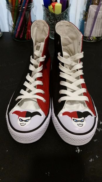 Harley Quinn/Joker DC Comics Shoes  --Be your own Whyld Girl with a wicked tee today! http://whyldgirl.com/tshirts