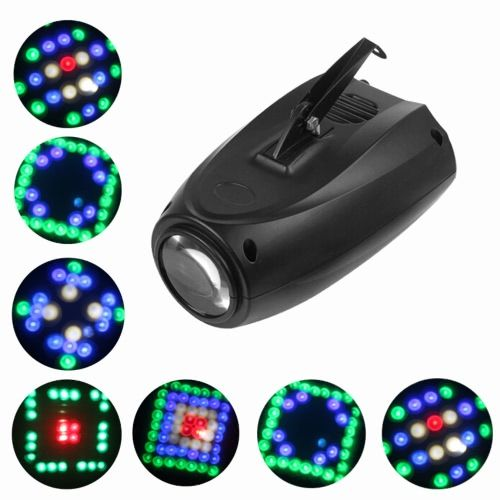LIXADA 10W 64LED RGBW Color Changing Airship Beam Light Gobo Pattern Stage Lamp Sound Control Auto Running Water Stroboscopic Effect for Disco KTV Club Party