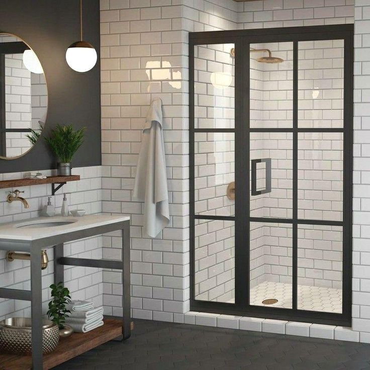Gridscape Gs1 2 Swing Shower Door And Panel In Black With Clear