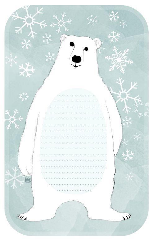 Free Printable Polar Bear Note Pad