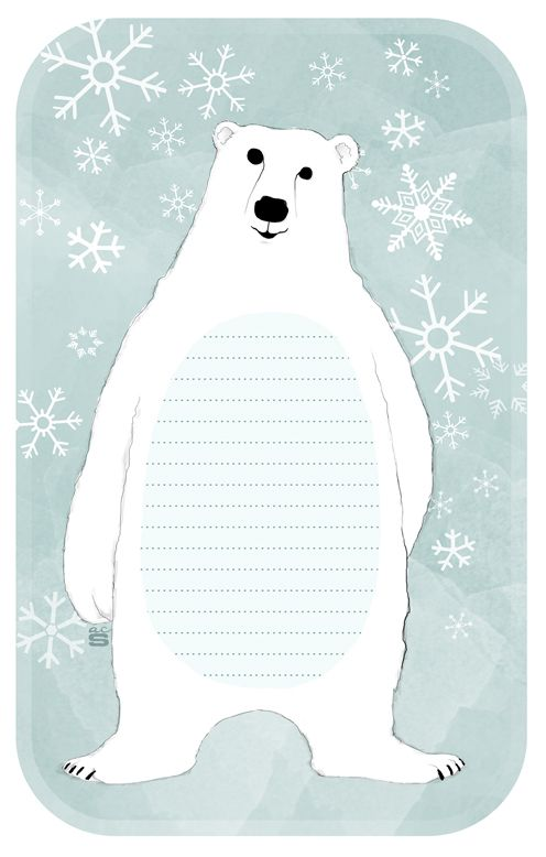Free Printable Polar Bear Note Pad