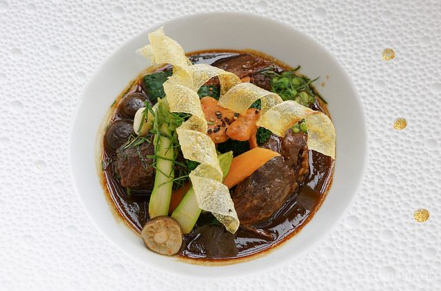 La joue de bœuf Wagyu Braised Wagyu beef cheek with red miso and medley of seasonal vegetable - Darin