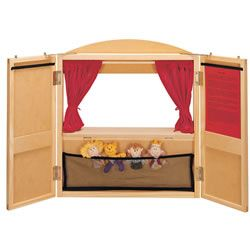Wooden Puppet Theatre with 4 Puppets