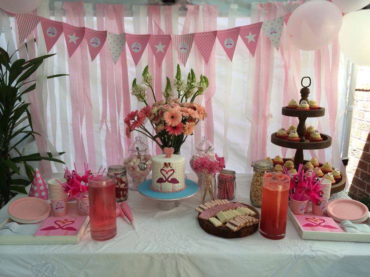 Pink Flamingo dessert table www.facebook.com/CakeInTheAfternoon